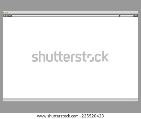 Opened template. Grey website display bar isolated. Navigation button forward, back, home, search, menu. Business concept commerce site. Background interface. Past content abstract illustration