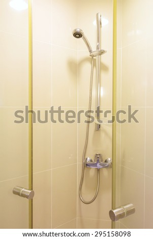 opened the bathroom glass door. - stock photo