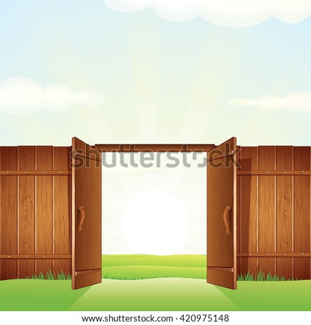 Opened Timber Gate. Image for your Design. - stock photo