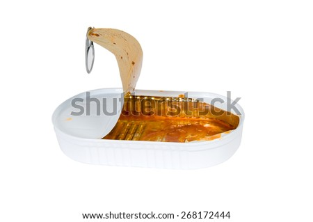 Opened tin can - stock photo