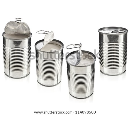 opened tin cans with coconut milk set isolated on white background  - stock photo