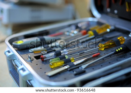 Opened toolbox with screwdriver sets