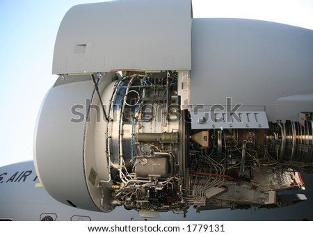 Opened Up Side View of C-17 Military Aircraft Engine - stock photo