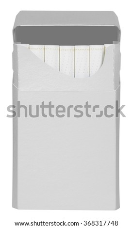 Opened white cigarettes pack box isolated on white. Clipping path included. Ready for your design. - stock photo