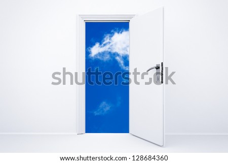 Opened white 3d rendered door with cloudy sky - stock photo