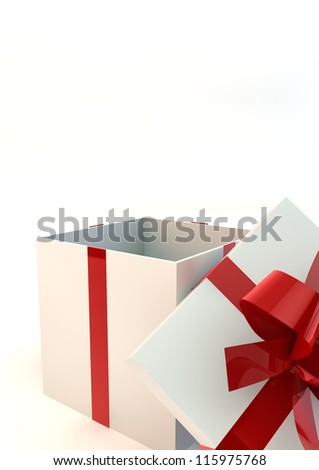 Opened white gift box with red ribbons - stock photo