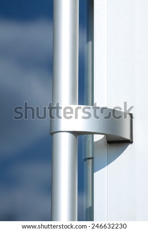 Opened white plastic window  with clouds in background - stock photo