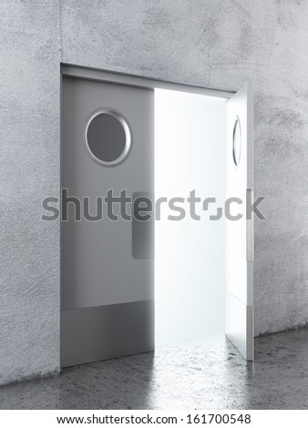 Opened White swing door