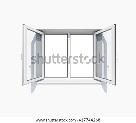 Opened window on clean white wall. Business or web template. 3D illustration