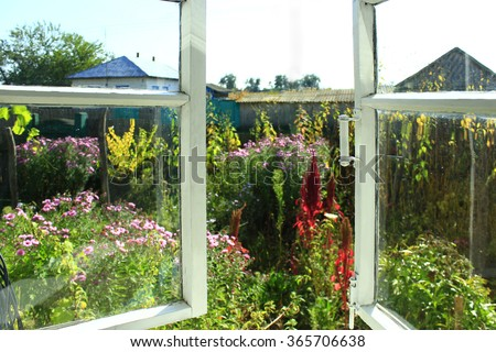 opened window to the summer garden in the village with flowers