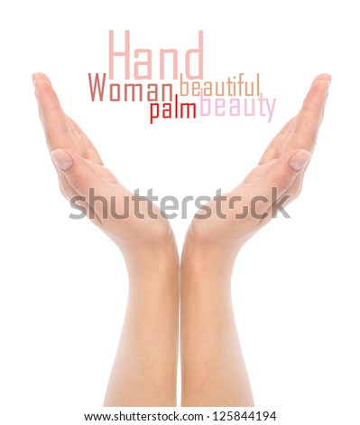 opened woman's hands on white background - stock photo