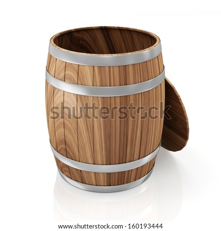 Opened Wooden Barrel isolated on white background - stock photo
