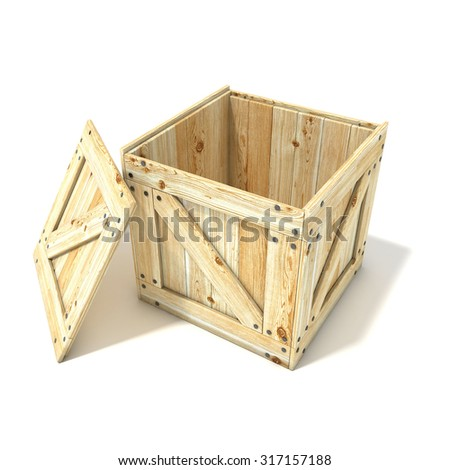Opened wooden crate. Side view. 3D render illustration isolated on a white background - stock photo