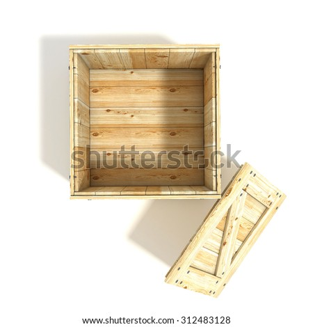 Opened wooden crate. Top view. 3D render illustration isolated on a white background - stock photo