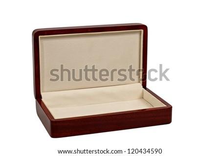 opened wooden mahogany case isolated on white background - stock photo