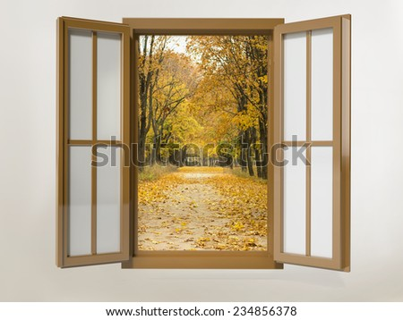 opened wooden window frame overlooking the autumn alley