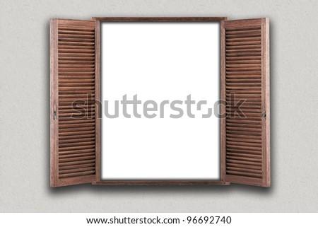 Opened wooden window. illustration - stock photo