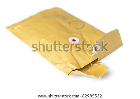 opened yellow mail parcel isolated on white background