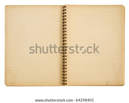Opened yellowed spiral notebook isolated on white