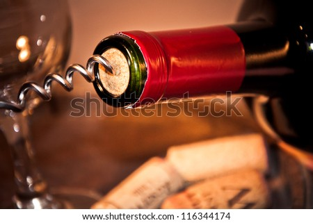 Opening A Bottle Of Wine - stock photo