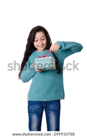 Opening a present - stock photo