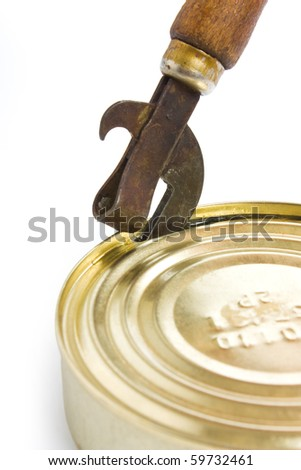 Opening a tin is isolated on a white background