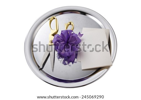 opening ceremony concept, purple bows on the silver plate - stock photo
