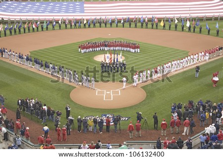 Opening Day Ceremonies featuring gigantic American Flag in Centerfield on March 31, 2008, Citizen Bank Park where 44,553 attend as the Washington Nationals defeat the Philadelphia Phillies 11 to 6. - stock photo