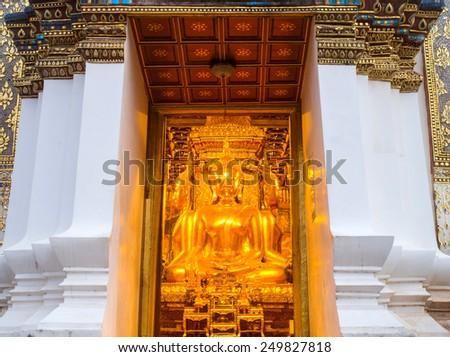 Opening door Thai art in main church of Wat Phu Mintr is very outstanding Northern Thai art. - stock photo