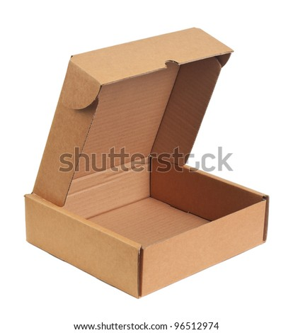 Opening empty carton. Object is isolated on white background without shadows.
