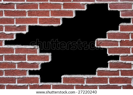 Opening in a brick wall, over black background. - stock photo