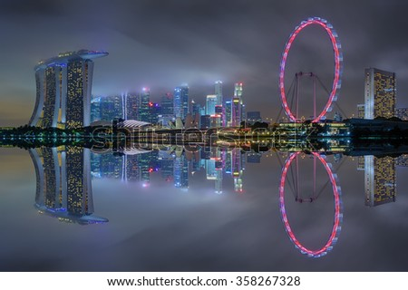 Opening new year festival, Marina bay business office during twilight with water reflection, Singapore.(soft focus due long exposure,high iso,multi focus)
