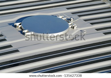 Opening on a container roof for loose freights - stock photo