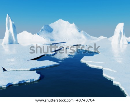Opening passage in pack ice and icebergs. Global warming concept.