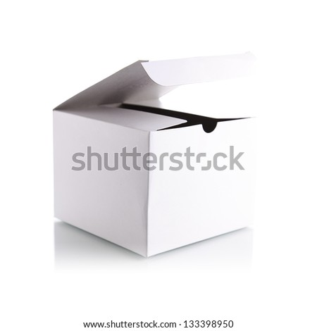 Opening the white box - stock photo