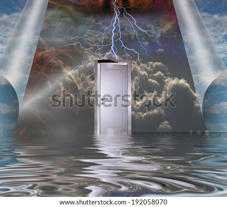 Opening to another world - stock photo