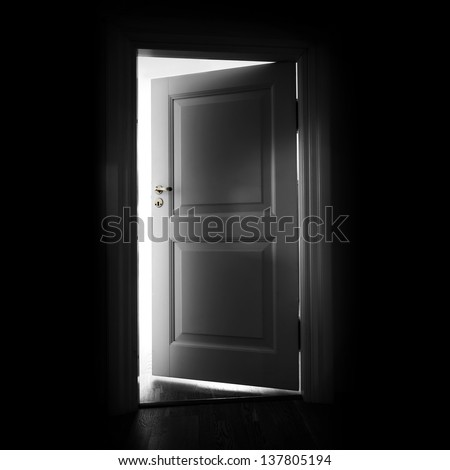Opening white door in a dark room with light outside - stock photo