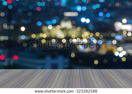 Opening wooden floor, Defocused blur bokeh background. The Ananta Samakhom Throne Hall - stock photo