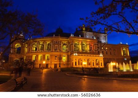 Opera and ballet theater exterior at night, Odessa, Ukraine - stock photo