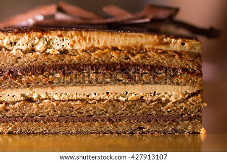Opera cake is a type of almond sponge cake with a coffee and chocolate filling and icing originating in France. Shot with a shallow depth of field