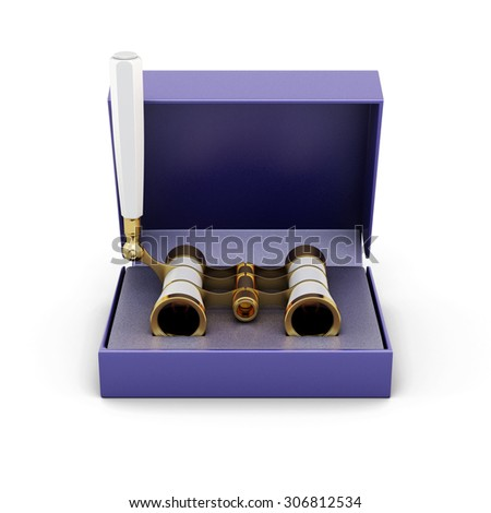 Opera glasses in the box isolated on white background. 3d illustration. - stock photo