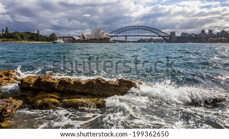 opera house and harbor bridge - stock photo