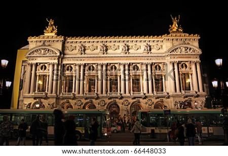 Opera of Paris: the opera building of Paris, France shot at night. - stock photo