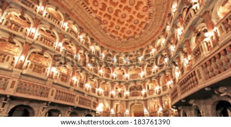 Opera theater stage background, intentional blurred post production