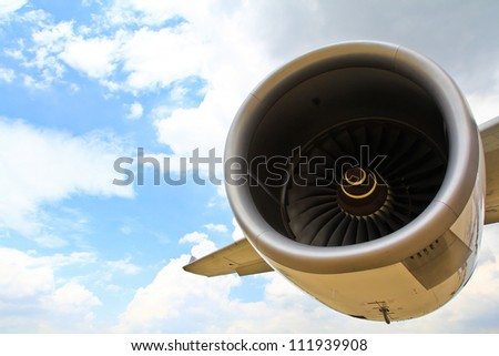 Operating an aircraft jet engine in Airport - stock photo