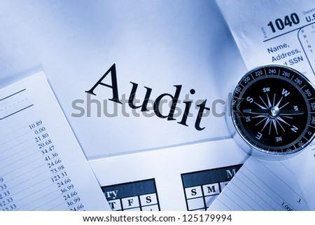 Operating budget, calendar, compass and audit - stock photo