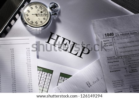 Operating budget, stopwatch and calendar