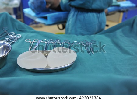 operating tools and chest implants in surgery room