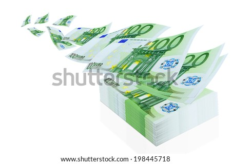 Operation with the euro currency - cashing, exchange, purchase and sale. - stock photo