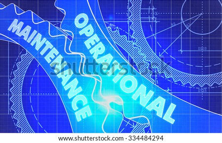 Operational Maintenance on Blueprint of Cogs. Technical Drawing Style. 3d illustration with Glow Effect. - stock photo
